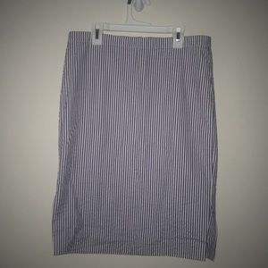 J. Crew Blue and White Striped Pencil Skirt